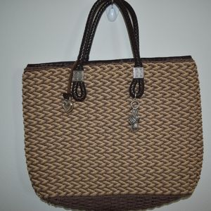Brighton straw tote style bag brown and tan red